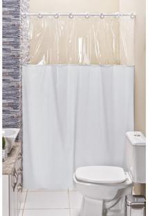 Cortina Box Banheiro Lisa C/ Detalhe Transparente Em Pvc Branco - Branco - Dafiti