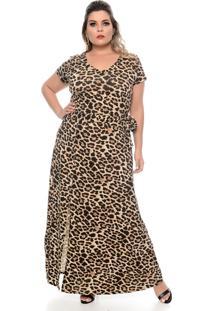 Vestido Domenica Solazzo Longo Leopardo Plus Size
