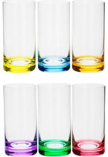 Conjunto 6 Copos De Cristal 380 Ml Long Drink Set-Bar Favorit - Bohemia - Colorido