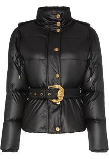 Versace Hooded Belted Feather Down Puffer Jacket - Preto