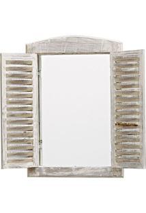 Espelho Com Moldura Janela- Espelhado & Branco- 38X3Btc Decor