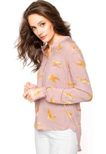 Camisa Manga Longa Triton Estampada Rosa