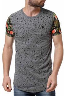 Camiseta Manga Curta Alongada Masculina Cinza