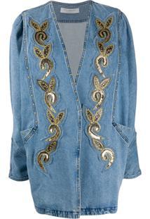 Philosophy Di Lorenzo Serafini Embellished Oversized Denim Jacket - Azul