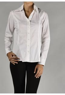 Camisa Marcia Mello Tricoline Mg Longa Branca