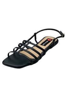 Sandalia Bico Quadrado Love Shoes Salomé Tirinhas Preto
