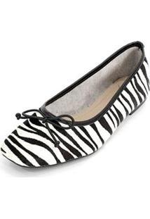 Sapatilha Couro Dali Shoes Animal Print Zebra Feminina - Feminino-Preto