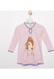 "Camisola ""Princesinha Sophiaâ®""- Rosa Claro & Lilã¡Slupo"