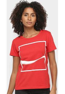 Camiseta Coca Cola Estampada Feminina - Feminino-Vermelho