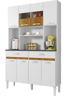 Armário Cozinha 8 Portas 2 Gavetas Ônix Branco Chf Móveis