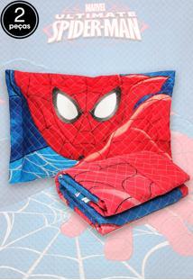 Kit 2Pçs Colcha Quilt Solteiro Lepper Spider-Man Ultimate Vermelho