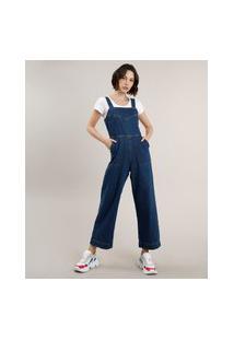 Macacão Jeans Feminino Com Bolsos Alça Larga Azul Escuro