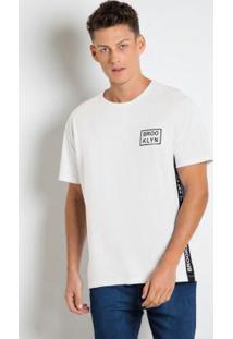 Camiseta Branca Com Estampa Na Letaral