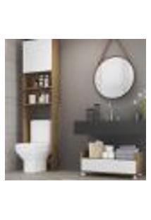 Armário Banheiro Para Vaso Sanitário Com 2 Portas E Balcão Com Rodízios Multimóveis Branco/Rustic