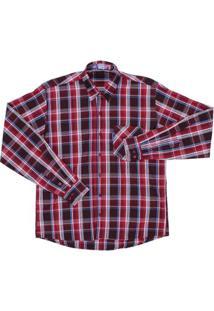 Camisa Xadrez Masculina Rodeo Western - Masculino-Vermelho