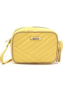 Bolsa Mini Bag Transversal Matelassê Casual Festa Feminina - Feminino-Amarelo