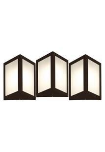 Arandela Triangular Marrom Kit Com 3 Casah