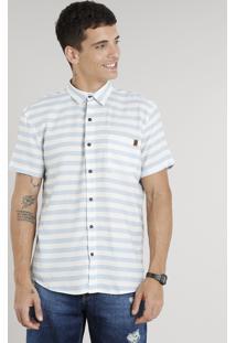 Camisa Masculina Listrada Com Bolso Manga Curta Em Linho Off White