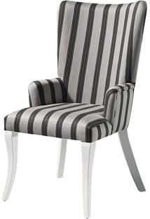 Cadeira Nazare Com Braco Pe Laca Branco Semi-Brilho - 37395 Sun House