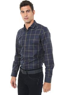 Camisa Aramis Slim Xadrez Azul-Marinho/Amarela
