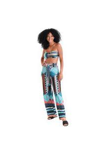 Calça Pantalona Amarração Tulum - Azul - Líquido