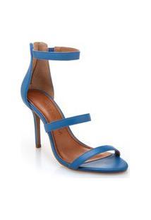 Sandalia Morena Rosa Salto Alto Ziper Traseiro Azul