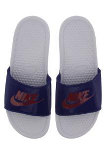 Chinelo Nike Benassi Jdi - Slide - Feminino - Branco/Azul Esc