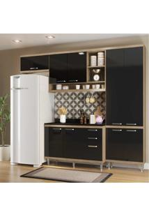 Cozinha Completa Berlin Com Balcão 9 Portas 3 Gavetas Multimóveis Argila/Preto