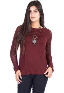 a0008c360f ... Blusa Tricot Malhas Carlan Slim Off Decote Redondo Feminina -  Feminino-Bordô
