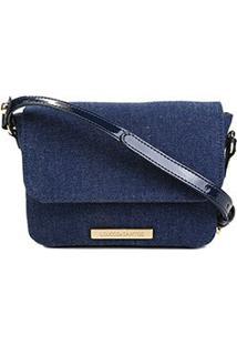 Bolsa Loucos & Santos Mini Bag Tecido Denim Unwashed Feminina - Feminino-Azul