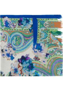 Etro Echarpe Com Estampa De Batik - Azul