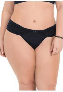 Calcinha Plus Size Com Laterais Drapeadas E Detalhes Em Renda - Feminino-Preto