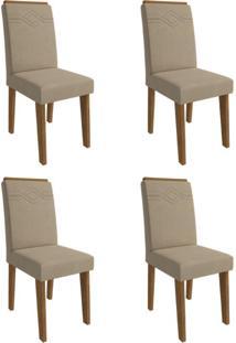 Conjunto Com 4 Cadeiras De Jantar Taís I Suede Savana E Caramelo