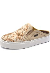 Slip On Mule Shoes Grand Floral Perola Com Bege - Kanui