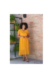 Vestido Midi Almaria Plus Size Uva Doce Peplum Amarelo