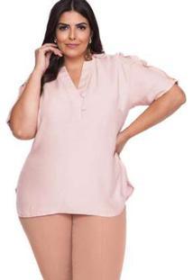 Blusa Almaria Plus Size Pianeta Lisa Rosa Rosa
