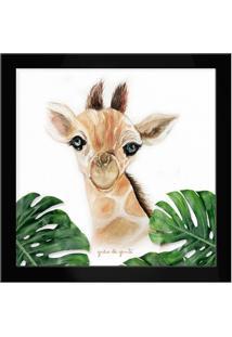 Quadro Girafa Safári Baby Preto Preto