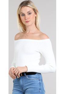 Blusa Feminina Ombro A Ombro Cropped Em Tricô Manga Longa Off White
