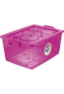 Caixa Organizadora Com Trava- Pink- 23,5X53X37,8Cm