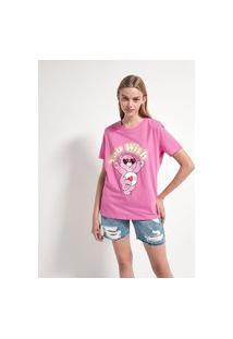 Blusa Gola Redonda Manga Curta Estampa Ursinho Carinhoso | Care Bears | Rosa | Pp