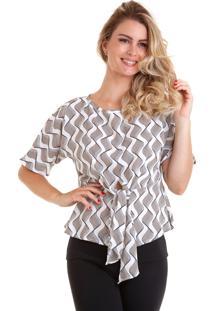Blusa Kinara Estampada Com Faixa Na Cintura Branco