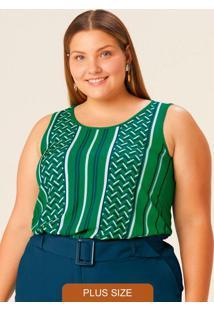 Blusa Verde Geométrica Em Viscose Plus
