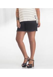 Shorts Secret Plus Size Jeans Glam Plus Feminino - Feminino-Preto