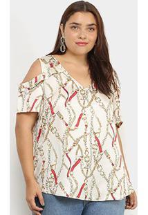 Blusa Lemise Open Shoulder Correntes Plus Size Feminina - Feminino-Bege