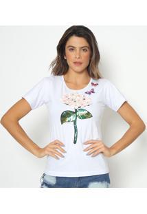 Blusa Com Bordado & Pedrarias- Branca & Verde Escurofashion 500