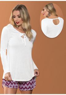 Blusa Branca Com Amarração Frontal
