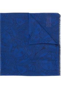Versace Echarpe Com Estampa Medusa - Azul