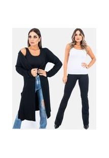 Kit 2 Pças 1 Cardigan Kimono Longo E 1 Calça Legging Fuso Flare Plus Size Juquitiba Brasil Preto
