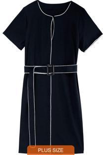 Vestido Preto Curto Em Crepe Plus