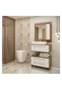 Conjunto Para Banheiro Castanho Argel E Branco Lilies Móveis